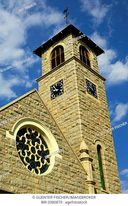 Tower of the Dutch Reformed Church or Klipkerk with a round mosaic window, Springbok, Northern Cape, South Africa, Africa
