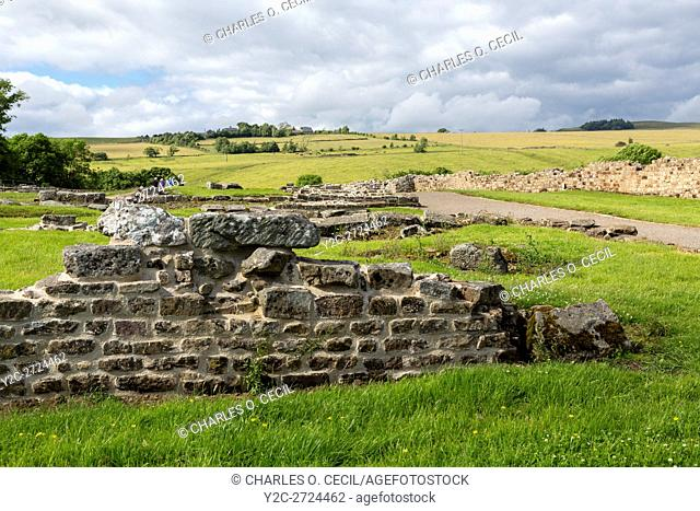 Northumberland, England, UK. Looking North from Vindolanda Roman Fort