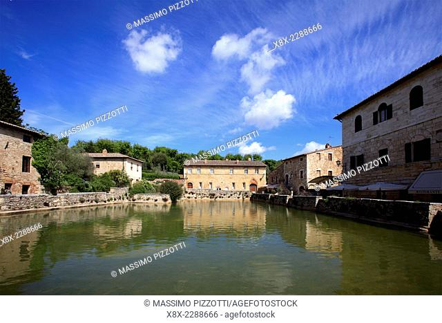 The ancient village of Bagno Vignoni, Val d'Orcia, Tuscany, Italy