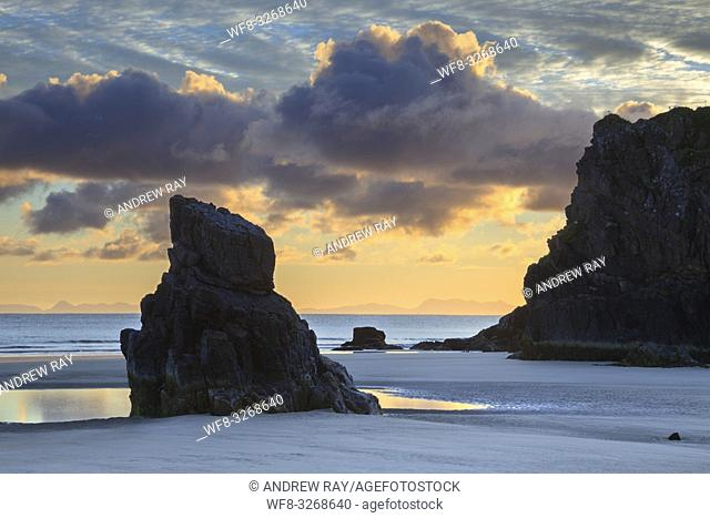 A sea stack on Garry Beach at Tolsta on the East Coast of the Isle of Lewis captured shortly after sunrise in late October
