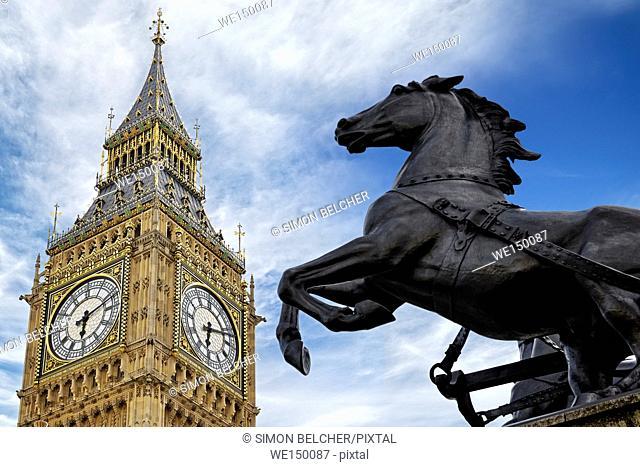 Boudicca Statue and Big Ben, London, UK