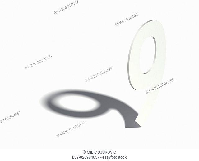 Drop shadow digit. Number NINE 9. 3D render illustration isolated on white background