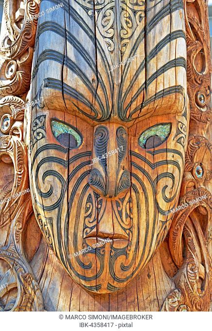Maori totem, living Maori cultural centre Te Puia, Rotorua, Whakarewarewa Valley, New Zealand