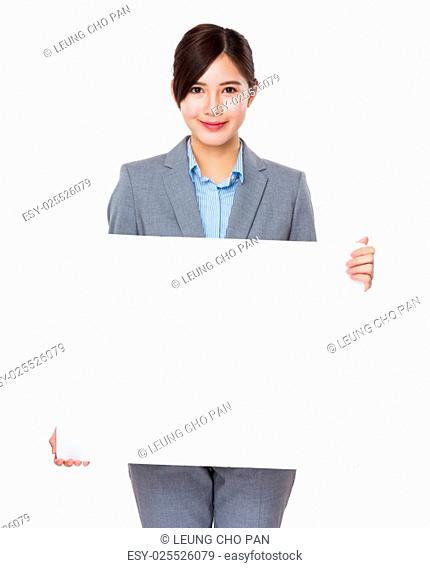 Asian businesswoman show with white poster