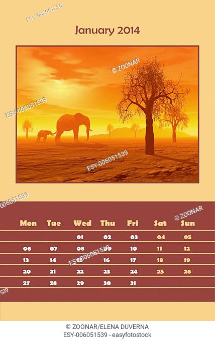Safari calendar for 2014 - january