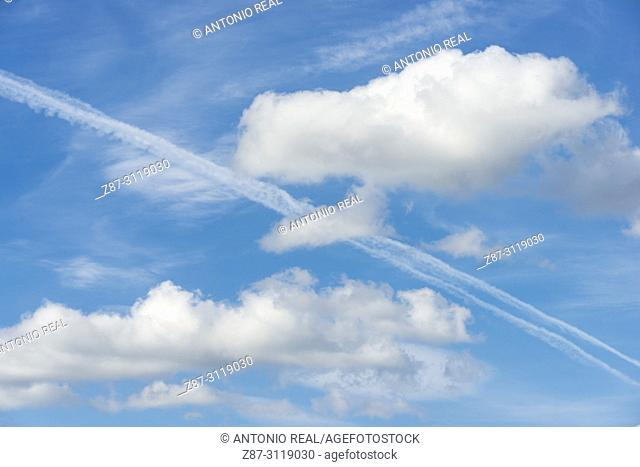 Clouds and blue sky. Almansa. Albacete. Spain
