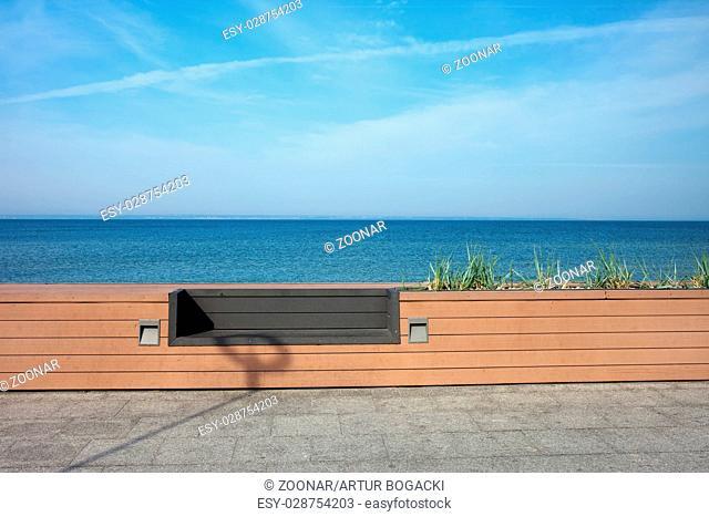 Bench at Baltic Sea Promenade in Hel