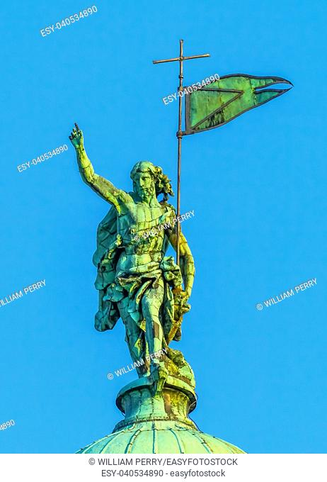 Jesus Christ Statue Dome Saint Simeone Church Evening Venice Italy
