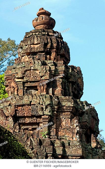 Tower within the Banteay Srei temple, Citadel of the Women, Angkor, Cambodia, Southeast Asia