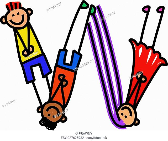 Cartoon stick kid drawing of the alphabet letter W