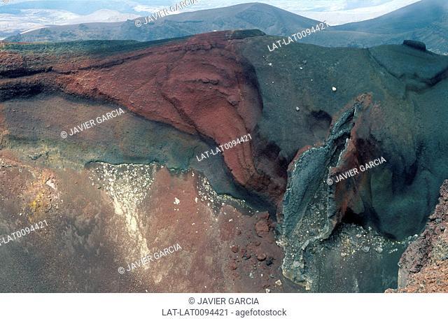 Tongariro national park. Active volcanic peak. View into Red Crater. Tongariro track