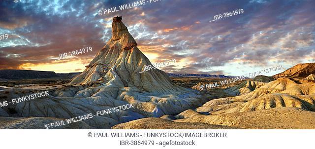 Castildeterra rock formation in the Bardena Blanca area of the Bardenas Reales Natural Park, Navarre, Spain