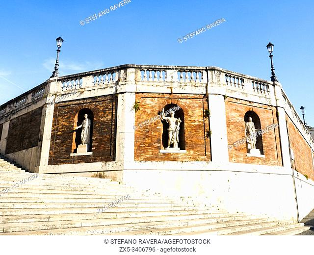 Stairs and wall of the terrace in Quirinal HIll - Rome, Italy