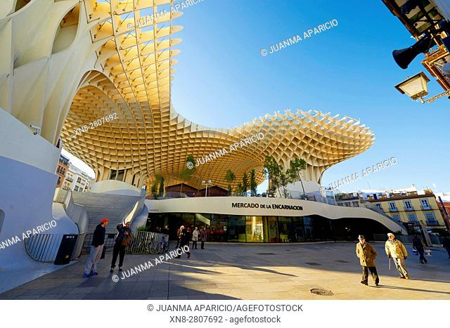 The Mushrooms Metropol Parasol Seville Andalusia Spain. World's largest wooden structure. Completed in 2011 designed by Jurgen Mayer-Hermann