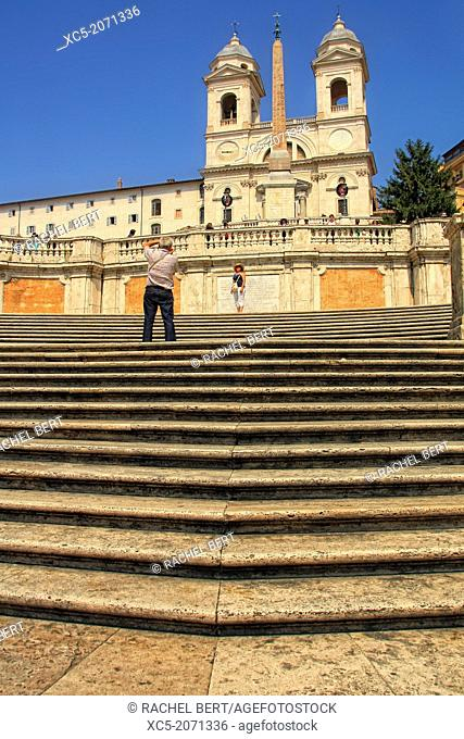 Spanish Steps and church of Trinita dei Monti in Rome Italy