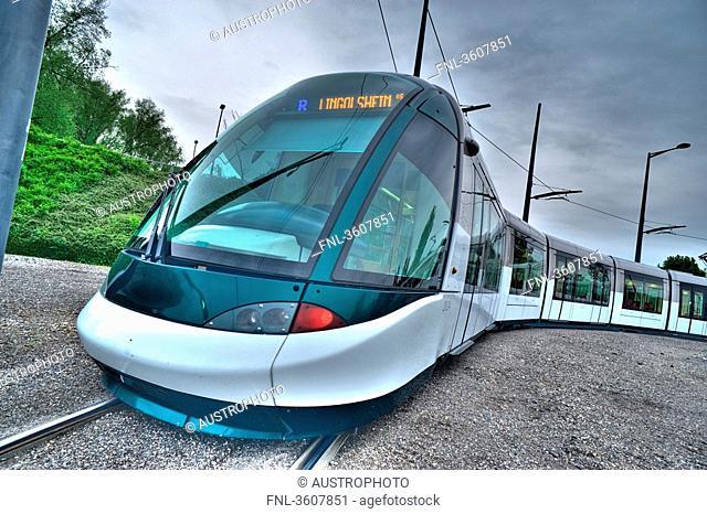 Tram line Alstom Citadis in Strasbourg, France