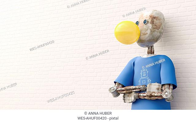 Robot making chewing gum bubble, 3d rendering