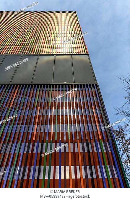 Museum Brandhorst, detailed view of the facade, opened in 2009, architect Sauerbruch Hutton, facade made of 36000 ceramics rods and 23 colours, Maxvorstadt
