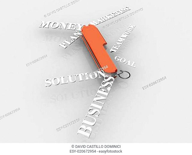 conceptual image using business words with a swiss army knife me