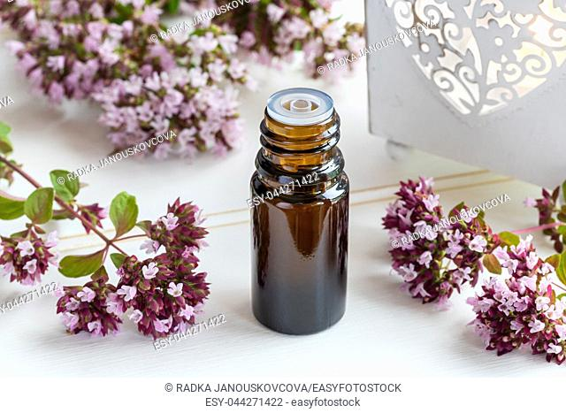 A bottle of essential oil with fresh blooming oregano twigs on a white table