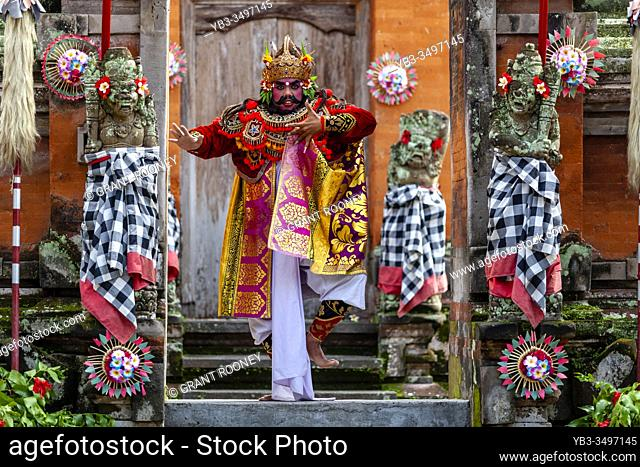 A Male Performer Dancing During A Traditional Balinese Barong and Kris Dance Show, Batabulan, Bali, Indonesia