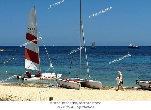 Els Pujols beach in Formentera with sailing boats in summer day. Formentera, Balearic Island, Spain