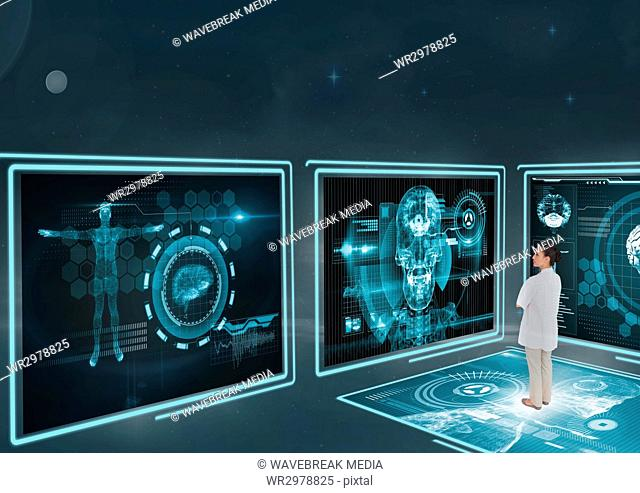 Woman doctor looking at medical interfaces 3d