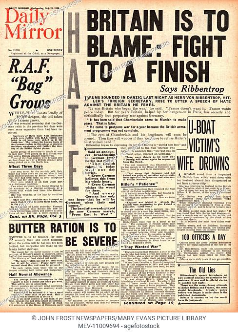 1939 Daily Mirror front page reporting German Foreign Minister Joachim von Ribbentrop attacks Britain in a speech made in Danzig