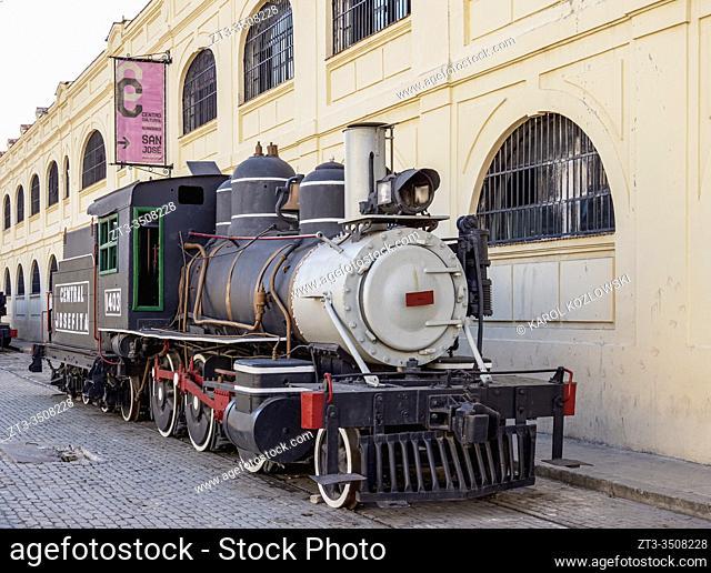 Steam Locomotive in front of the Almacenes San Jose Artisans' Market, La Habana Vieja, Havana, La Habana Province, Cuba