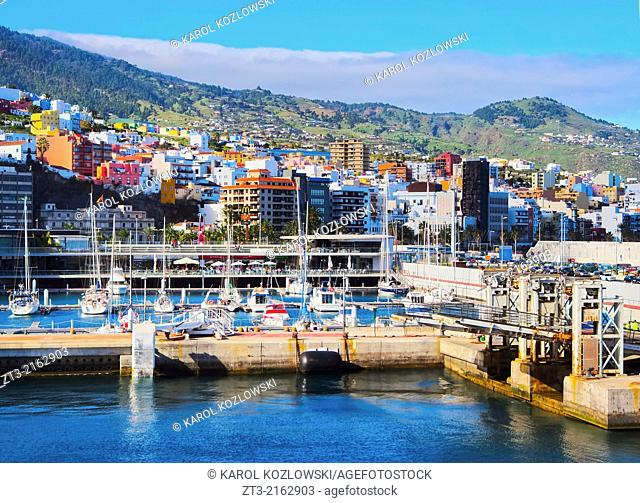 View of the harbour in Santa Cruz de La Palma, Canary Islands, Spain