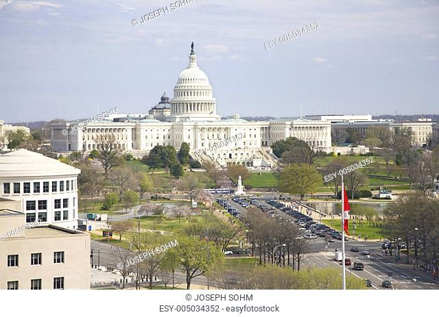 U.S. Capitol viewed from rooftop of Newseum Museum in Washington D.C. on Pennsylvania Avenue