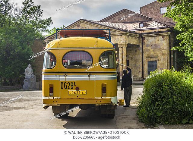Armenia, Vanadzor, Soviet-era bus powered by natural gas, NR