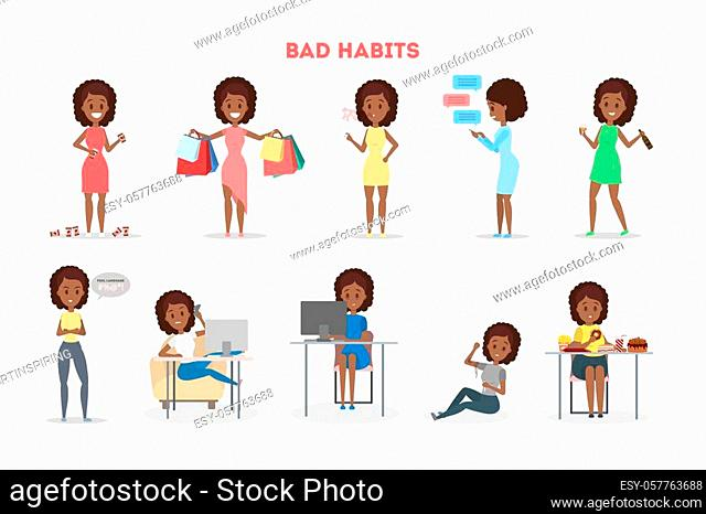 Woman with a bad habit set. Alcohol and coffee addiction, eating junk food and gambling. Unhealthy lifestyle and danger for life