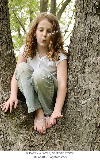 Preteen girl with wavy gold-brown hair anad freckles, sitting in tree between two large branches, knees up, in faded geans and white short-sleeved top
