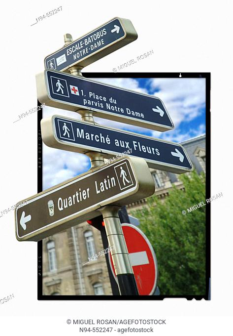 Outer signaling next to rio the Seine in Paris, France, Europa