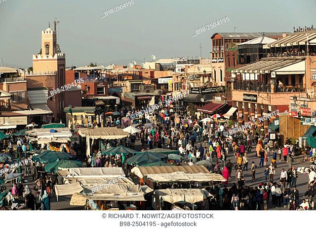 Djemaa el Fna or Jamaa el Fna square is a North Africa's equivalent to a three ring circus, with snake-charmers, dancers, musicians
