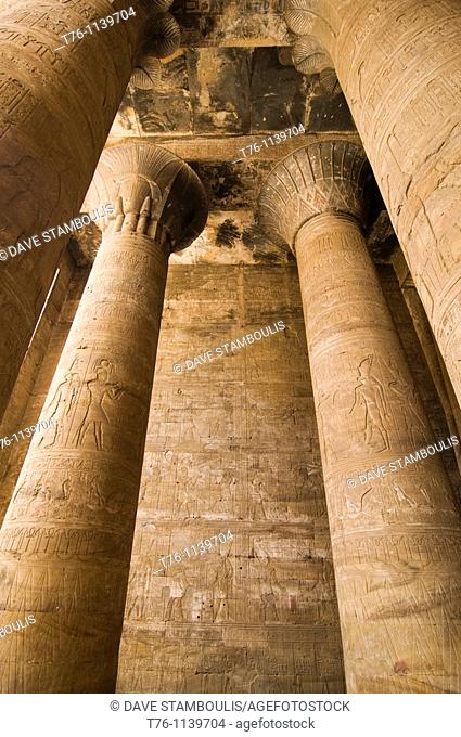 giant columns in the Kom Ombo Temple in Upper Egypt