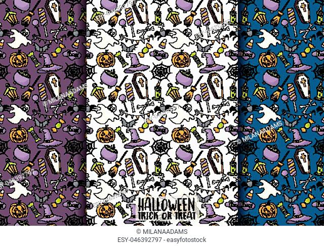 Halloween seamless pattern design set for wrapping, package, background. Cartoon style vector illustration