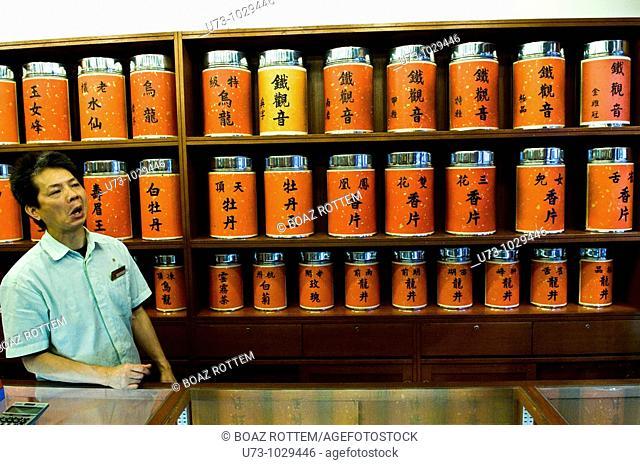 A tea shop with a very big tea selection in Hong Kong