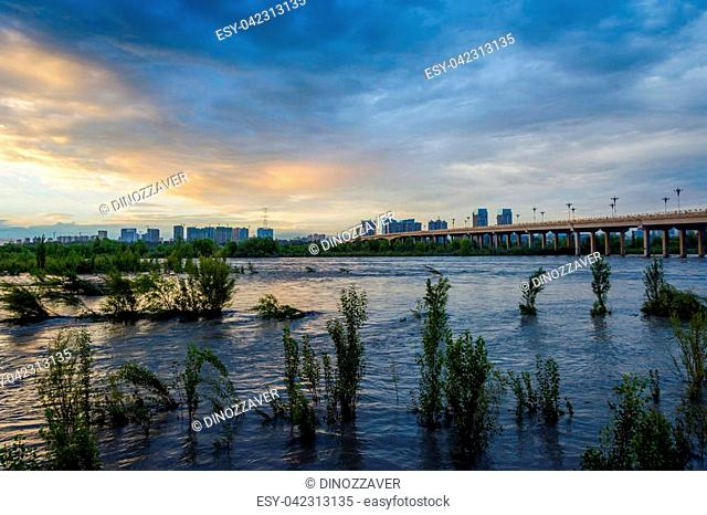 Bridge over Yili (Ili) river, Yining, Xinjiang Uyghur autonomous region, China