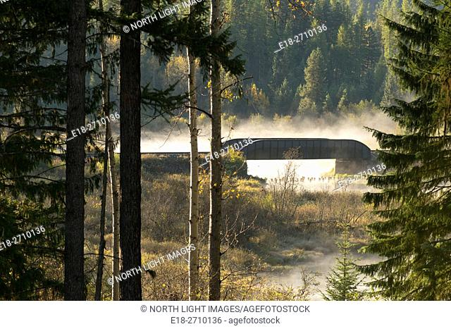 Canada, BC, Cranbrook. Bridge crossing river and marshland in foggy morning light