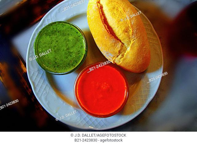 Specialities of Tenerife: 'Mojo Picon' a green or red sauce used to everything, Canary Islands, Spain