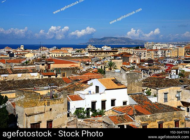 Panoramic view for old, historic part of Palermo from Church of Most Holy Saviour (Chiesa del Santissimo Salvatore), historic part of Palermo, Sicily, Italy