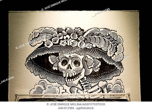Mexico.Aguascalientes.Engraving of  Jose Guadalupe Posada (1852/1913).The Catrina