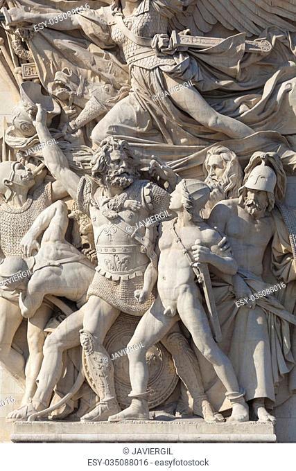 Detail of the Arc de Triomphe, Paris, Ile de france, France