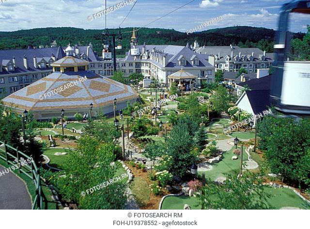 Canada, Quebec, Laurentians, Mount Tremblant, Tremblant Resort Village from the aerial tramway in the Laurentian Mountains
