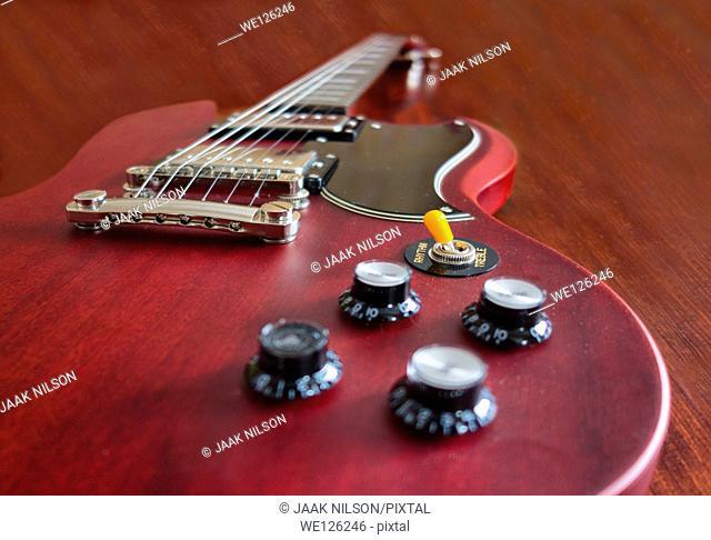 Close-up of electric guitar. Selective focus