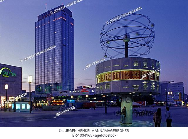 Alexanderplatz square at dusk, world clock, Park Inn Hotel, Berlin Mitte district, Germany, Europe