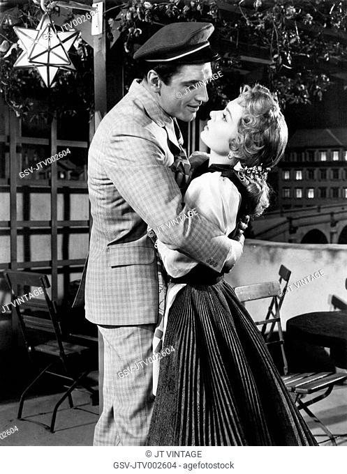 Edmund Purdom and Ann Blyth on-set of the Film, The Student Prince, 1954
