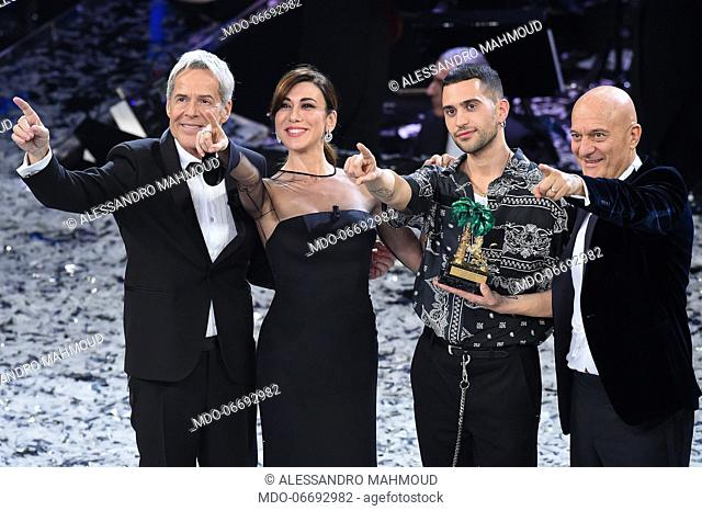 Italian comedian and presenter Claudio Bisio, Italian singer and presenter Claudio Baglioni, Italian-Egyptian singer and winner Mahmood (Alessandro Mahmoud)